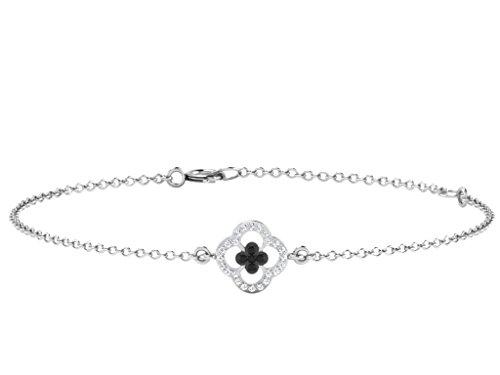 Libertini bracelet argent 925 femme plaque or Rose serti de Diamant en forme de Carrés