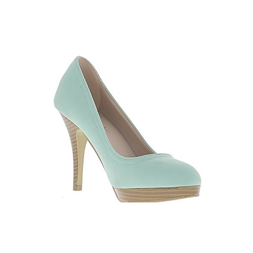 ChaussMoi Plataforma de Madera de Aspecto de Tacón DE 1,5 cm y Tacón DE 10.5 cm Zapatos Mujer Verde Mate