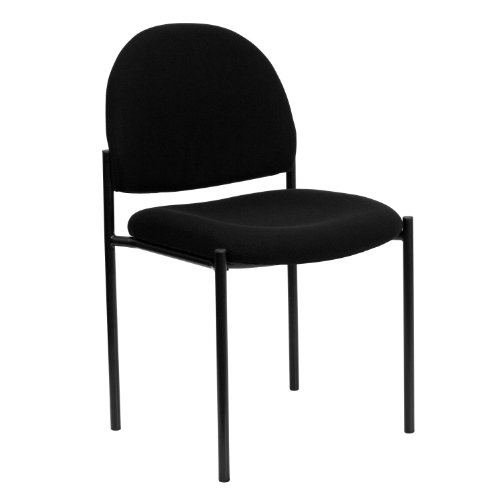 MFO Black Fabric Comfortable Stackable Steel Side Chair