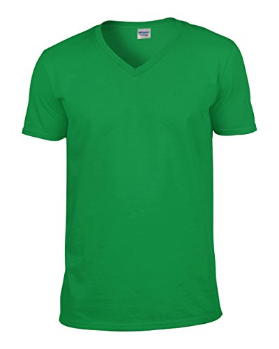 Gildan Mens Soft Style V-Neck Short Sleeve T-Shirt (M) (Irish Green)