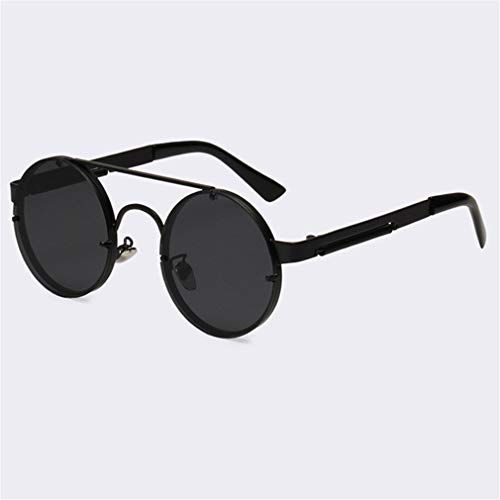 (Vintage Steampunk Sunglasses Men Goggles Round Sunglasses Women Brand Design Metal Frame Twin-Beams Glasses Mirror Shades C04 Gray Black)