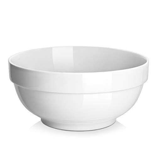 ((2 Packs) DOWAN 2.5 Quarts Porcelain Serving Bowls,Non Slip Salad Bowls, Pasta Bowl Set, White, Stackable)