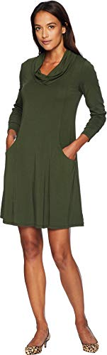 Mod-O-Doc Women's Cotton Modal Spandex Jersey Princess Seamed Cowl Neck Dress Holly Medium (Shift Cowl Neck Dress)