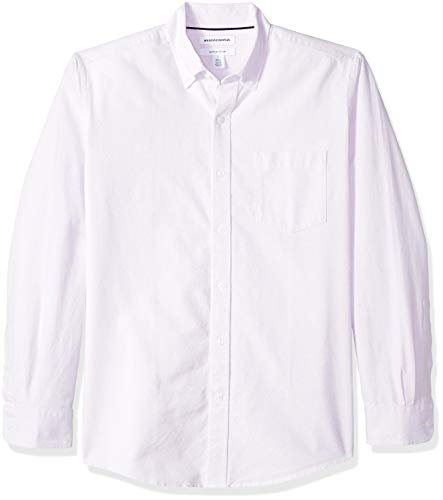 Amazon Essentials Men's Regular-Fit Long-Sleeve Solid Pocket Oxford Shirt, Lavender, X-Large