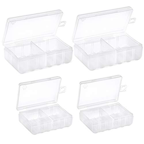 GlossyEnd Set of 4 - Two AA and Two AAA Battery Storage Box, Battery Storage Case, Battery Holder Clear