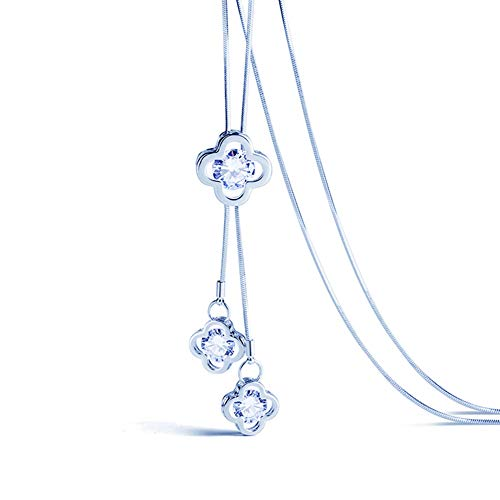 - Yozone Women's Four-Leaf Clover Pendant Long Chain Sweater Necklace (Silver1)