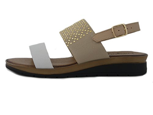 Sandalo Ed 85605 3cm Zeppa Elastico Osvaldo beige Pericoli In Pelle Pregunta Bianco pwBEqBF