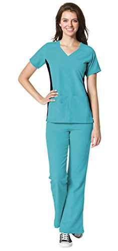 - WonderWink Women's Four-Stretch Mock Wrap Knit Panel Top 6514 and Fold Over Knit Waist Flare Leg Pant 5514 Scrub Set (Real Teal - X-Large/Large)