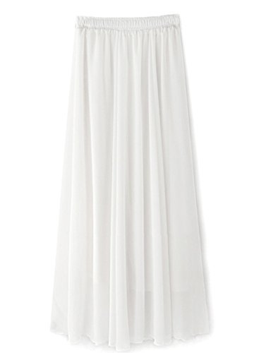 Ouye Women's Solid Pleated Casual Chiffon Maxi Skirt White,White,One (Solid Chiffon Skirt)