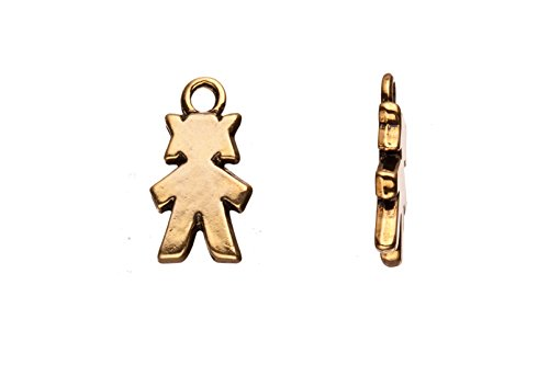 tique Silver-Plated Charm 12X21mm sold per 4pcs (Stick Figure Girl)