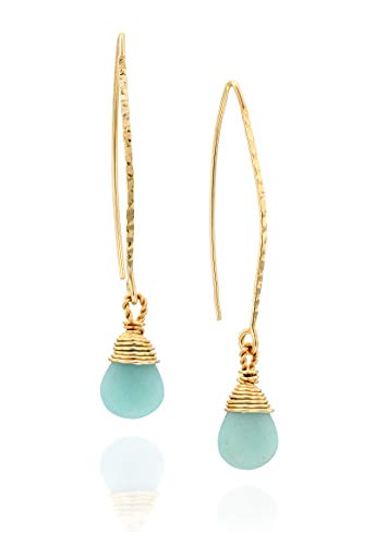 14k Gold-Filled Hand Wrapped Amazonite Gemstone Long Wire Threader Earrings Unique Women's Jewelry