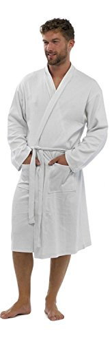 Buy mens waffle dressing gown white - 6