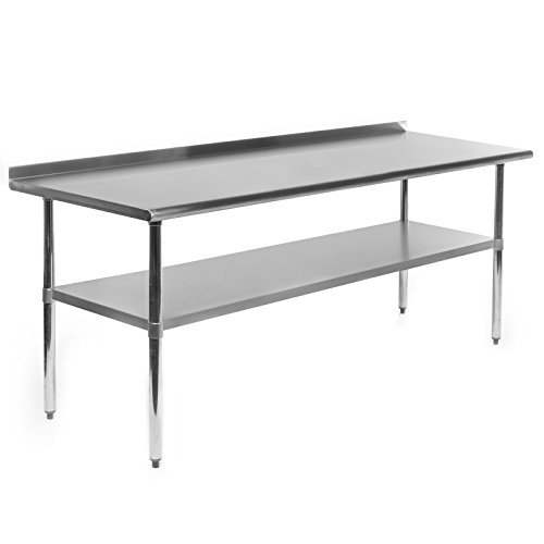 GRIDMANN NSF Stainless Steel Commercial Kitchen Prep & Work Table w/Backsplash - 72 in. x 24 in. (Kitchen Bench Long)