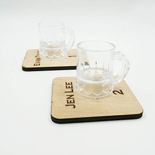 Personalized Escort Card Table Number Wooden Coasters with Plastic Miniature Beer Mug Shot Glasses Set of 4, 5, 8, 12, 20 Unique Wedding Favors - Folding Table Shabby