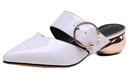 Chaussure Talon Femme Pointue Mules Mode Blanc Chunky Easemax gqpwEFg