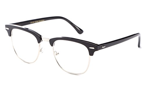 IG Unisex Clubmaster Oval Stylish Celebrity High Fashion Clear Lens Glasses in Black/Silver (Clear Glasses Clubmaster)