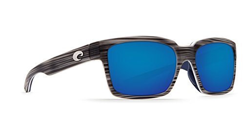 Costa Del Mar Playa Sunglasses, Matte Silver Teak/White/Blue, Blue Mirror 580P - Playa Costa Sunglasses