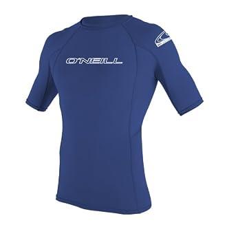 O'Neill Wetsuits Men's Basic Skins UPF 50+ Short Sleeve Rash Guard, Pacific, XX-Large