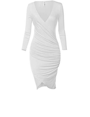 Luna Flower Sexy Front Slit Stretchy Body Wrap Fit Dresses 028-White Large