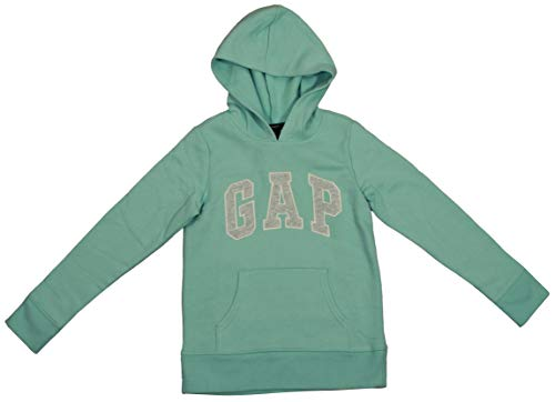 (GAP Girls Fleece Arch Logo Pullover Hoodie (Medium, Seafoam Green))