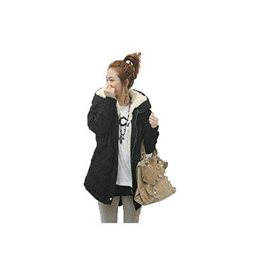 poopy Women's Winter Mid Length Thick Warm Parkas Coat Faux Lamb Wool Lined Jacket