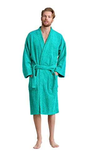 Men's Robe, Turkish Cotton Terry Kimono Spa Bathrobe (Aqua, Large)
