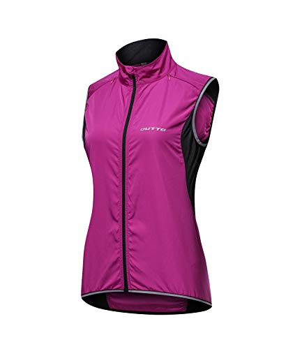 Outto Women's Reflective Running Cycling Vest for Safty and Windproof(Large,17B3 Purple)