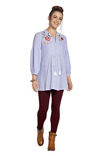 SOIZZI Fashion Women's Cotton Pin Stripe V Neck Tassel Neck Tie Tunic Blouse with Floral Embroidery (Mandarin Stripe Tie)