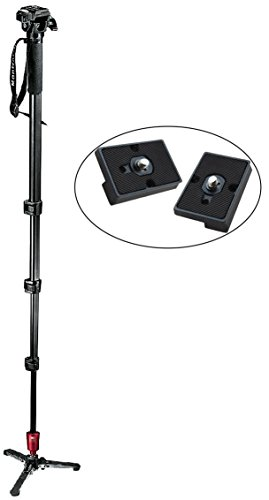 Manfrotto 560B-1 Fluid Video Monopod with Head Plus Two Replacement Quick Release Plates for the RC2 Rapid Connect Adapter