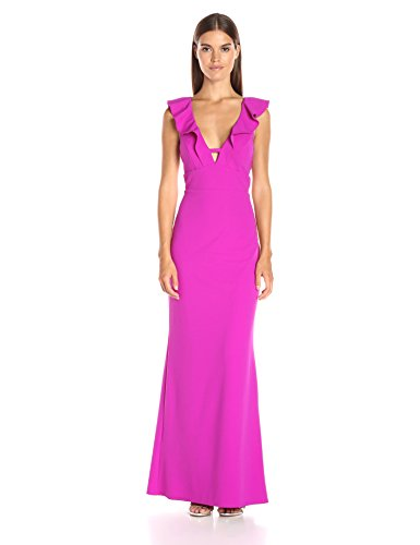 (ABS Allen Schwartz Women's Ruffle Front Deep-V Gown in Stretch Crepe Scuba, Orchid, Medium)