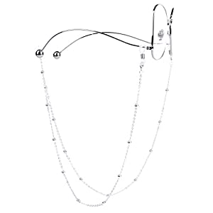 Mini Tree Necklace Eyeglass Chain Beaded Sunglasses Strap and Cords for Women (Silver)