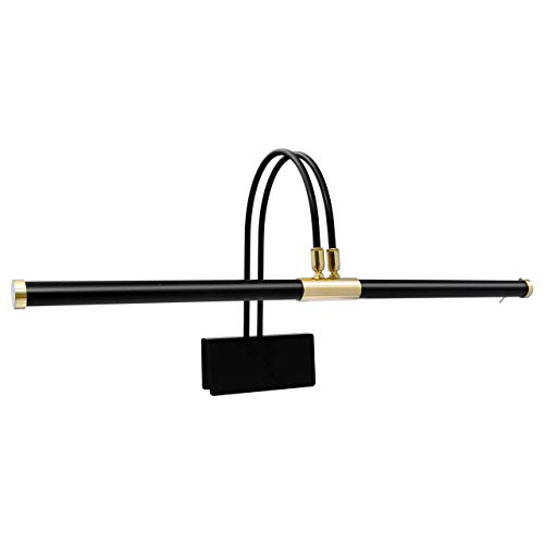 """Cocoweb GPLED22D 22"""" Grand Piano Lamp, LED, Adjustable, Quality Lighting in Black with Brass Accents, with Plug-in Adapter"""