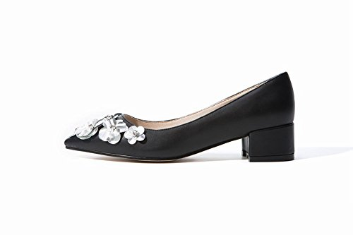 Mee Shoes Damen Blumen chunky heels Geschlossen Pumps Schwarz
