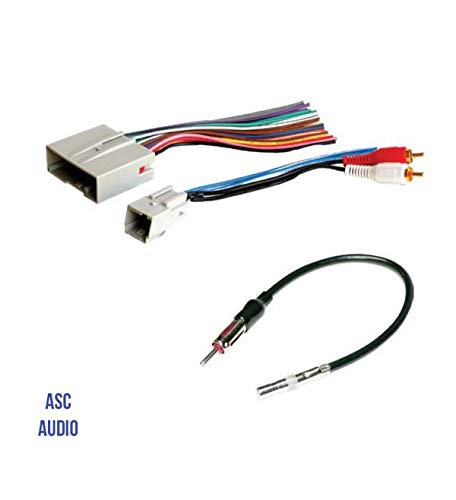 ASC Audio Car Stereo Wire Harness and Antenna Adapter to install an Aftermarket Radio for some Ford Lincoln Mazda Mercury Vehicles- Retains Factory Subwoofer- Compatible Vehicles listed ()