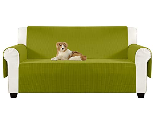 Aidear Anti-Slip Sofa Slipcovers Jacquard Fabric Pet Dog Couch Covers Protectors (Loveseat, Yellow Green)