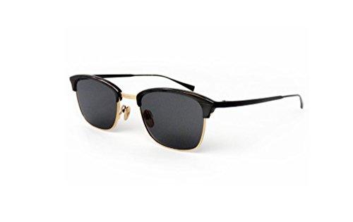 Masunaga Unisex Designer Sunglasses Van Alen/s 39, Black,Gold & Grey, Size 48 - Masunaga Sunglasses