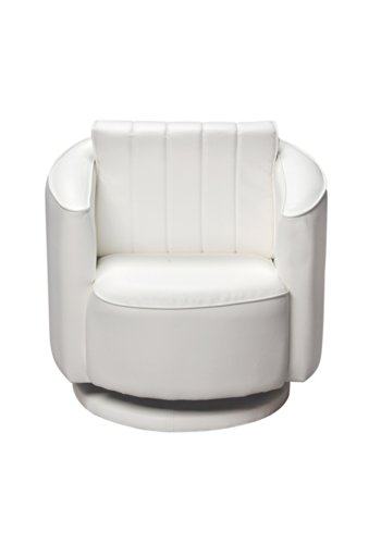 Gift Mark Upholstered Swivel Chair- White- 33 Pounds