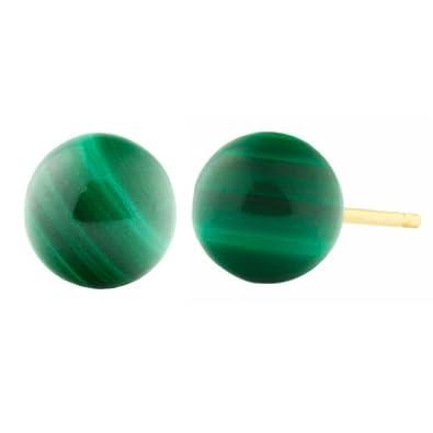 Trustmark 14k Yellow Gold 4mm Natural Green Malachite Ball Stud Earrings