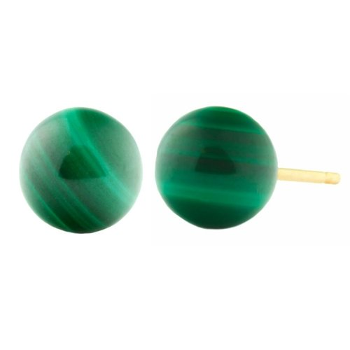 Trustmark 14k Yellow Gold 4mm Natural Green Malachite Ball Stud Earrings 14k Malachite Stud