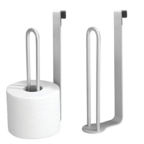 mDesign Aluminum Metal Modern Over-The-Tank Toilet Paper Holder Organizer for Bathroom Extra Organizing Storage, Set of 2, Silver by mDesign (Image #7)