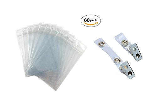 Fushing 60Pcs Clear Plastic Vertical Name Tags Badge ID Card Holders and Metal Badge Clips with Clear PVC Straps