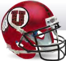 Utah Utes Miniature Football Helmet Desk Caddy Satin Red Black Mask - NCAA Licensed - Utah Utes - Utes Satin Utah