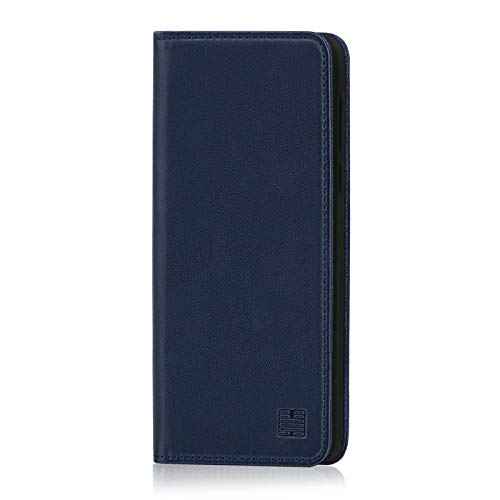32nd Classic Series - Real Leather Book Wallet Case Cover for Motorola Moto G7 Power, Real Leather Design with Card Slot, Magnetic Closure and Built in Stand - Navy Blue