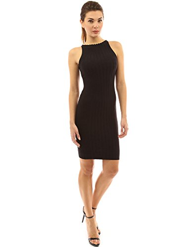 PattyBoutik Women's Crewneck Sleeveless Ribbed Dress (Black L)