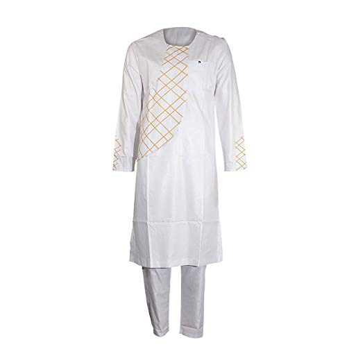 African Embroidery Clothing Dashiki Kaftan Long Pants Men Clothes Sets White L ()
