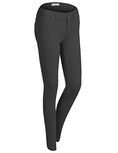 Slim Fit Stretchy Solid Color Long Jegging Pants, Black, Small