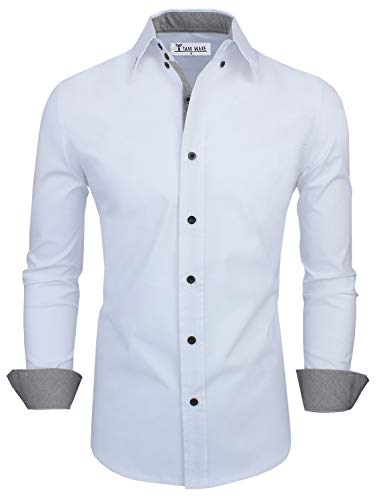 TAM WARE Mens Classic Slim Fit Contrast Inner Long Sleeve Dress Shirts TWNMS314-1-317-WHITE-US XXL