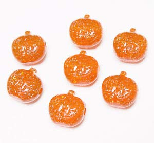 (Jack-O-Lantern Pumpkin Shaped Pony Beads Glitter Orange 25pc Made USA Halloween Crafting Key Chain Bracelet Necklace Jewelry Accessories)