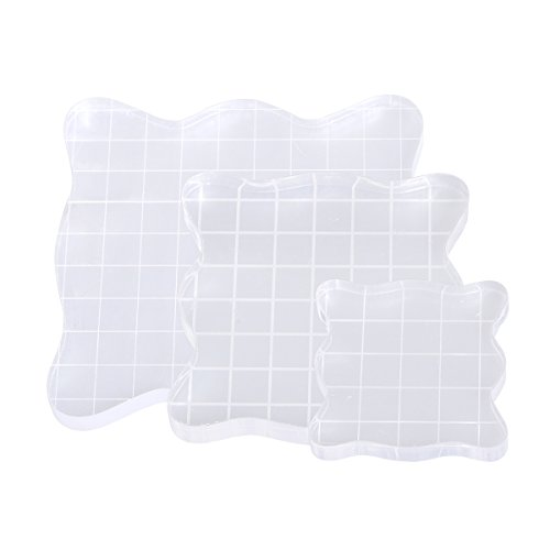 ULTNICE Acrylic Stamping Blocks with Grid Rubber Stamping Tools for Scrapbooking 3pcs