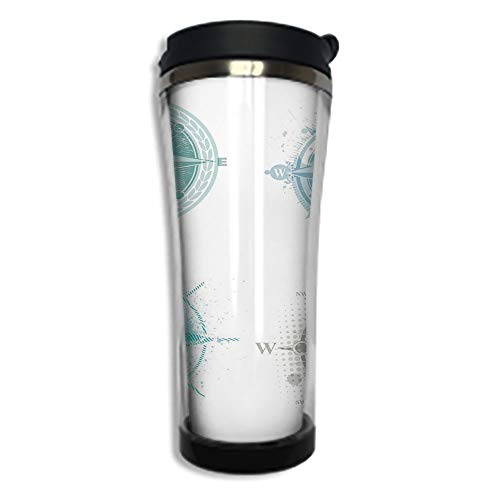 - Travel Coffee Mug 3D Printed Portable Vacuum Cup,Insulated Tea Cup Water Bottle Tumblers for Drinking with Lid 8.45 OZ(250 ml)by,Compass,Four Different Windrose Figures with Faded Look Nautical Equipm